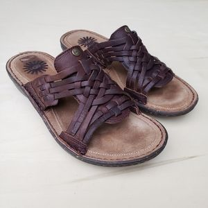 UGG Keala Woven Brown Leather Sandals - Size 7